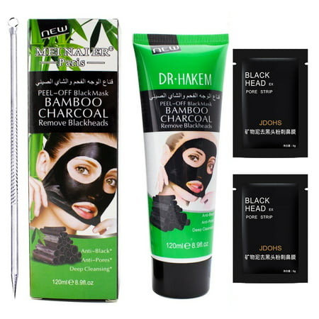 Black Mask (1 Blackhead Remover Mask+1 Extractor Tool+2 Pore Strips) Great Deep Cleansing Purifying Charcoal Peel Off Face Mask for Blackheads,Pimples,Clogged Pores,Whitehead,Blemish,Acne Treatment