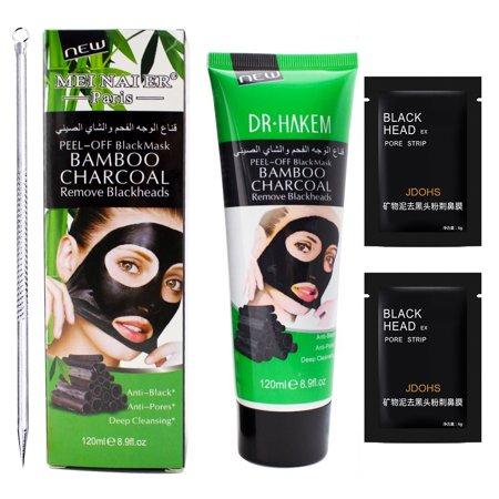 Black Mask (1 Blackhead Remover Mask+1 Extractor Tool+2 Pore Strips) Great Deep Cleansing Purifying Charcoal Peel Off Face Mask for Blackheads,Pimples,Clogged Pores,Whitehead,Blemish,Acne