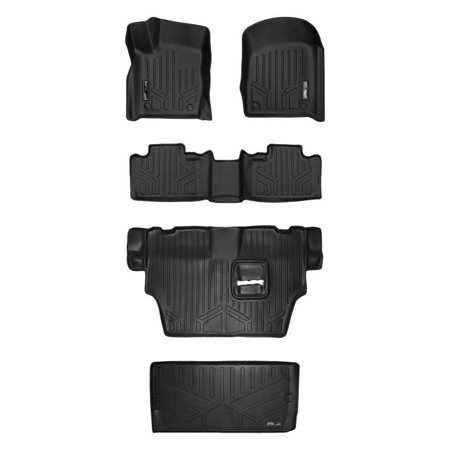 (Maxliner 2016-2018 Dodge Durango With 2nd Row Bench Seat Floor Mats 3 Rows Maxtray Cargo Liner Behind 3rd Row Set Black A0315/B0071/C0071/E0113)