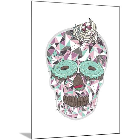 Cute Skull with Donut Eyes and Whipped Cream Hair. Wood Mounted Print Wall Art By cherry blossom girl