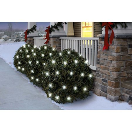 holiday time 70 count twinkle led net christmas lights cool white - Led Net Christmas Lights