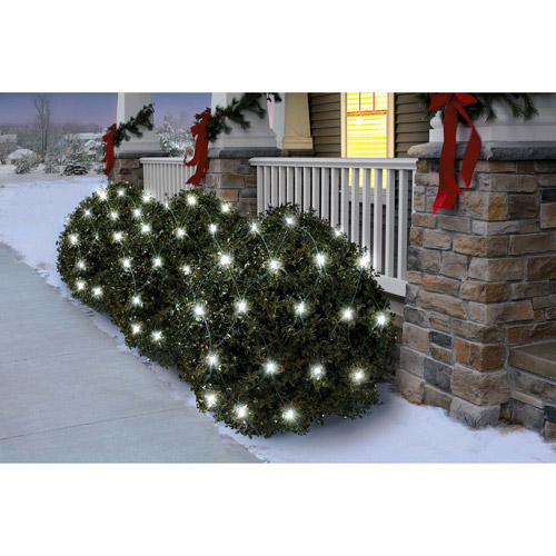 Holiday Time 70-Count Twinkle LED Net Christmas Lights, Cool White