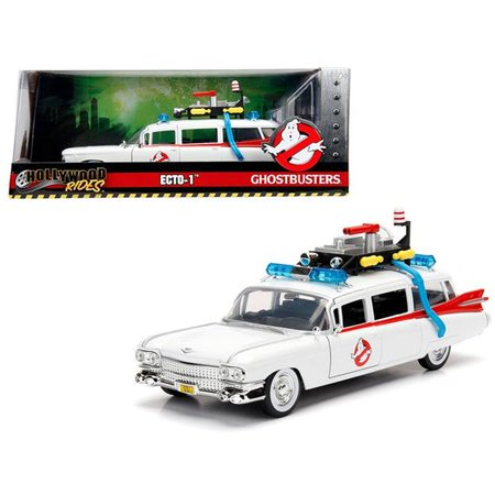 (1 isto 24 1959 Cadillac Ambulance Ecto-1 from Ghostbusters Movie Hollywood Rides Series Diecast Model Car)