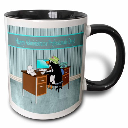 Happy Penguin (3dRose Penguin in the Office, Happy Administrative Professionals Day - Two Tone Black Mug,)
