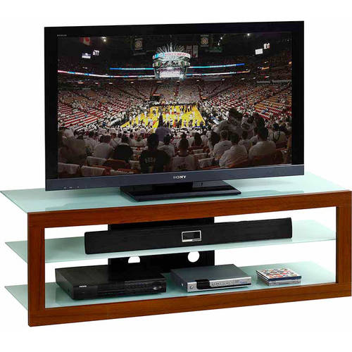 Techni Mobili Frosted Glass and Mahogany TV Stand for LCD TVs up to 65""