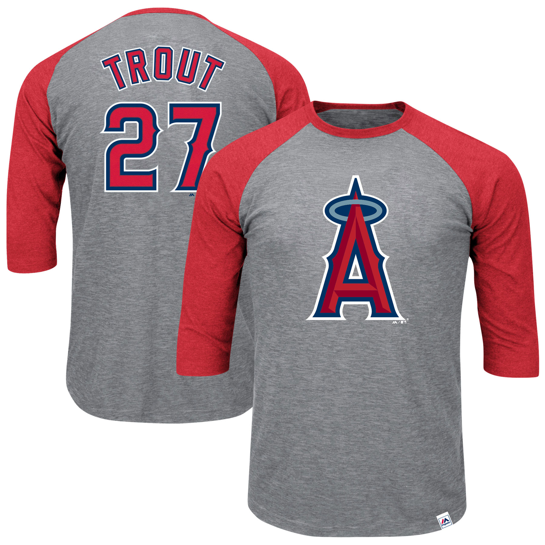 Mike Trout Los Angeles Angels Majestic Big & Tall Player Raglan 3/4-Sleeve T-Shirt - Heathered Gray/Red