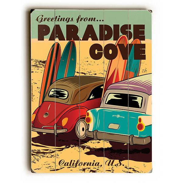 "ArteHouse Decorative Wood Sign ""Paradise Cove"" by American Flat, 12"" x 16\ by"