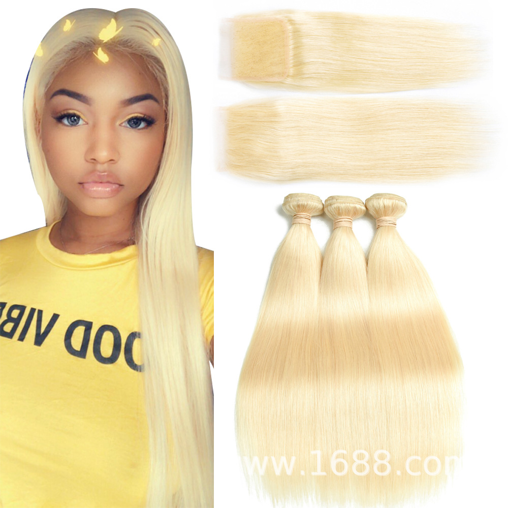 "Allrun 613 Blonde Virgin Hair Bundles With Closure 4*4 Lace Size,Blonde Bundles Brazilian Hair Extensions,100% Human Hair Weave, 20""20""20"" with 20"""