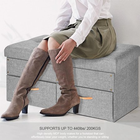 """SortWise Folding Storage Ottoman with Two large Drawers, Foot Rest Stool (Grey, 33""""x16 9/16""""x16 9/16"""") - image 6 of 7"""