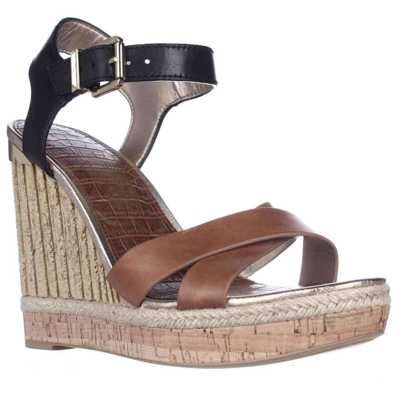 Womens Sam Edelman Clay Wedge Ankle Strap Sandals - Saddle/Black