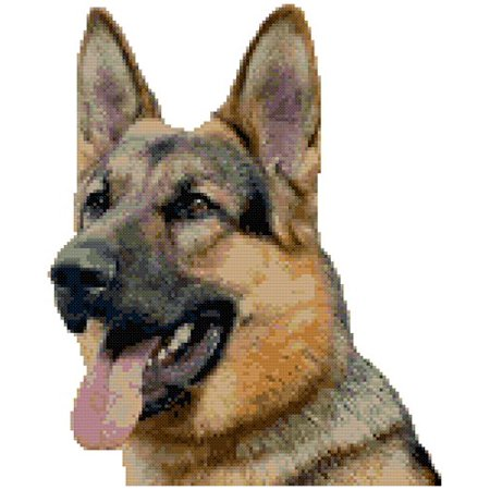 - German Shepherd Dog Portrait Counted Cross Stitch Pattern