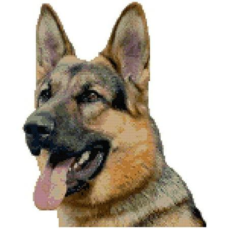 German Shepherd Dog Portrait Counted Cross Stitch - Halloween Cross Stitch Pattern