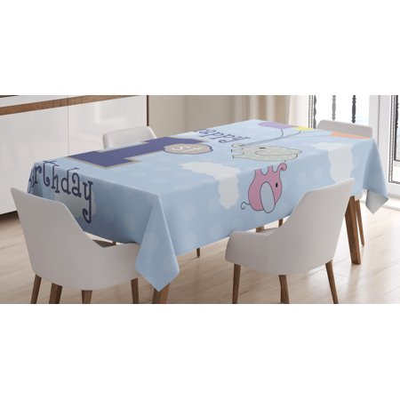 1st Birthday Decorations Tablecloth, Elephant in the Sky with Hand Drawn Balloons Party Theme, Rectangular Table Cover for Dining Room Kitchen, 52 X 70 Inches, Sky Blue and Grey, by Ambesonne - Sofia The First Table Cloth