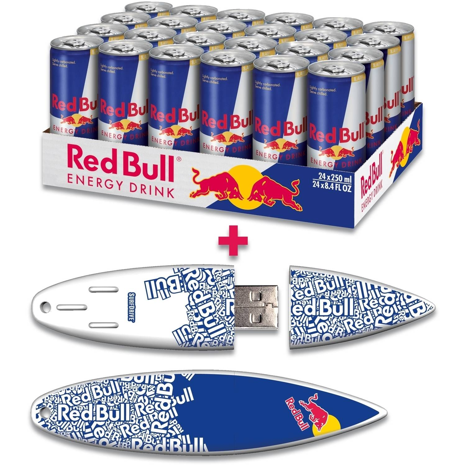 Red Bull 24-Pack 8.4-Ounce Original Energy Drink and 16GB Blue Text USB SurfDrive