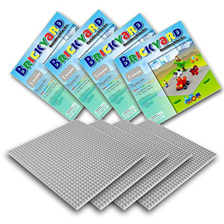 Gray Baseplates, 10 x 10 Inches Large Thick Base Plates for Building Bricks by Brickyard Building Blocks, Perfect for Activity Table or Displaying Construction Toys (4-Pack, Gray)