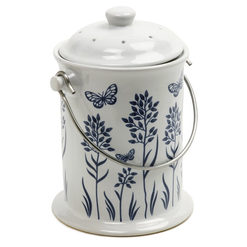 Norpro 3-Quart Ceramic Floral Compost Keeper, Blue and White by Norpro