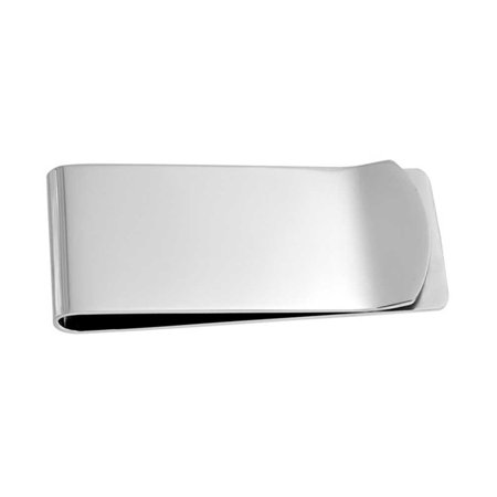 Basic Wide Strong Money Clip For Men Plain Engravable Credit Card Silver Tone Stainless Steel