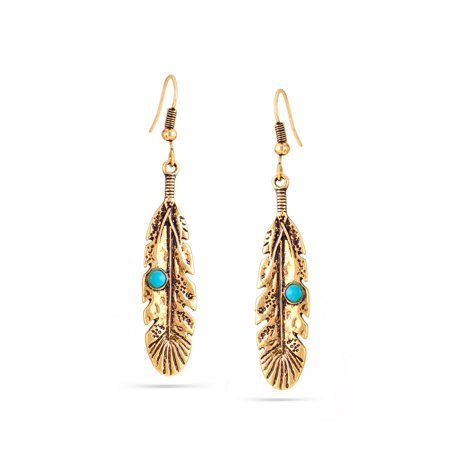 TAZZA WOMEN'S GOLD-TONE ANTIQUE LOOK VINTAGE BOHO METAL FEATHER TURQUOISE BEAD DROP EARRINGS