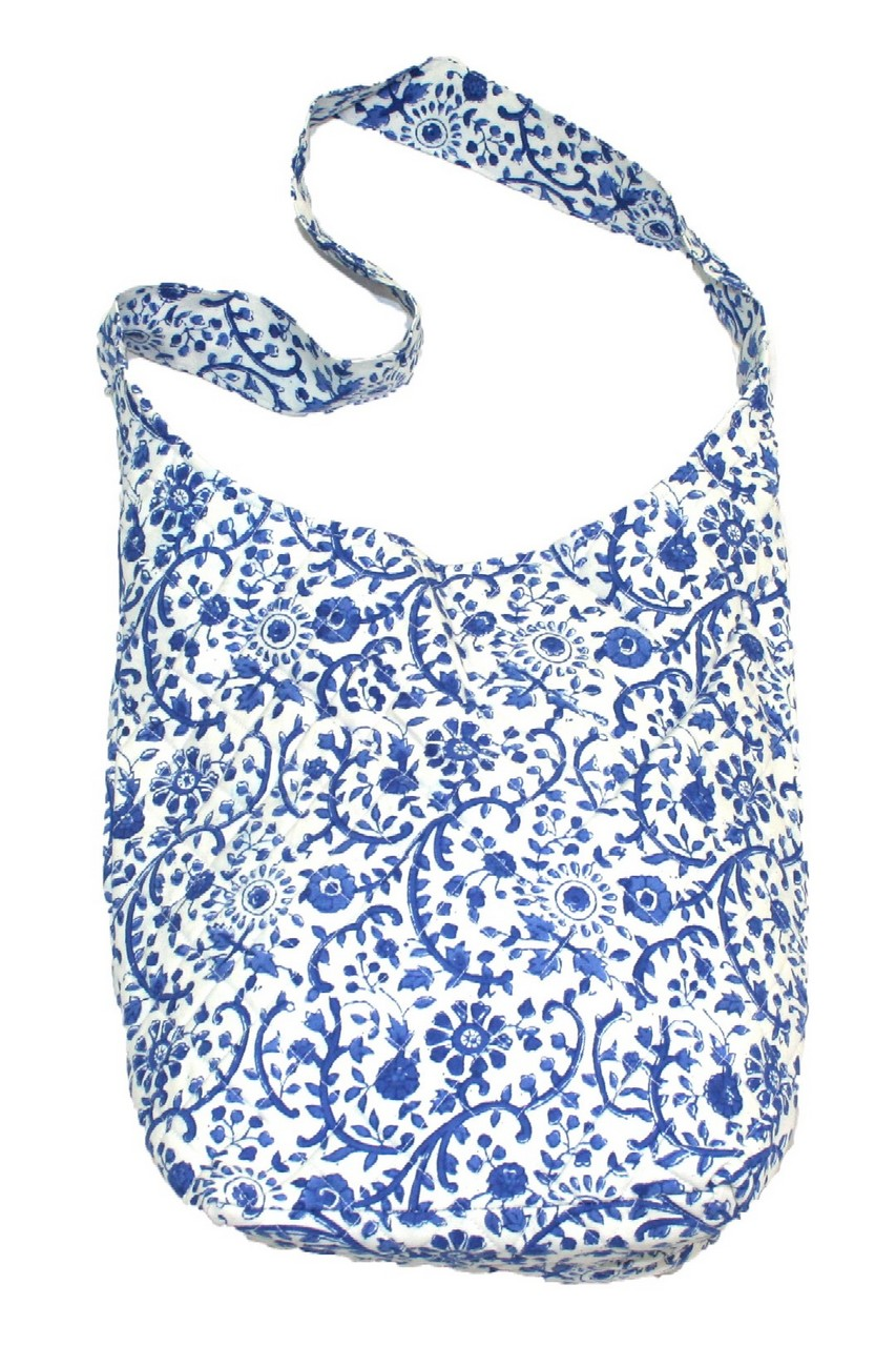 Block Printed Cotton Quilted Rajasthan Hobo Bag 14 x 14