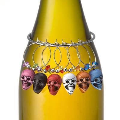 Prodyne Skull Wine Glass Stemware Charms / Drink Markers - Set of 6