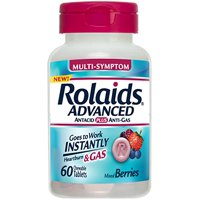 Rolaids Advanced Antacid Plus Anti-Gas Mixed Berry 60 Chewable Tablets