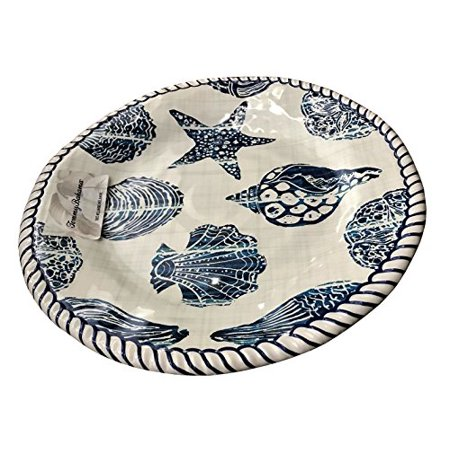 Tommy Bahama Blue Shell Rope Edge Melamine Dinner Plates (set of 4)