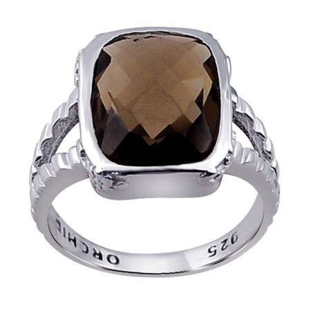 Orchid Jewelry 5.34 Ctw Natural Cushion Brown Smoky Quartz 925 Sterling Silver Ring For Women-A June Birthmonth Gemstone-A Beautiful Design in Silver Ideal As A Unique Gift For Girls and