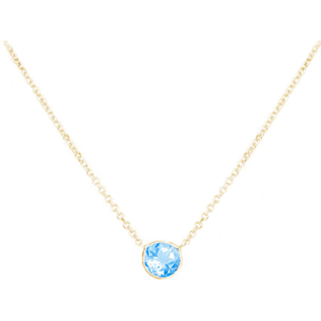14k Gold Round Blue Topaz Solitaire Necklace (1.10.cts.tw) by NRBTSOL2018