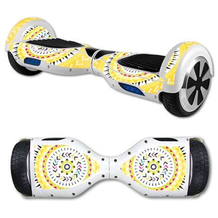 MightySkins Protective Vinyl Skin Decal for Hover Board Self Balancing Scooter mini 2 wheel x1 razor wrap cover sticker Yellow Aztec - Hoverboard Decals