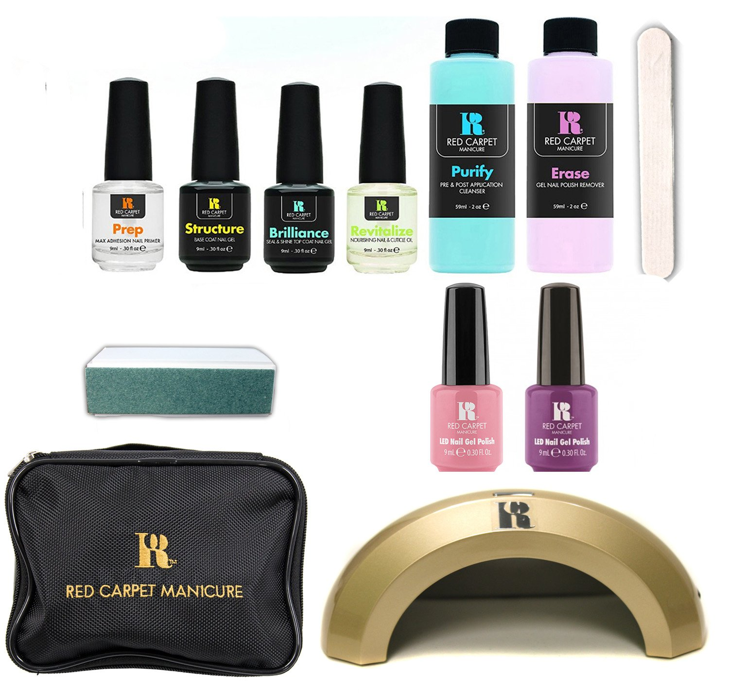 New Red Carpet Manicure LED Gel Nail Polish Color Kit Starter Set + Travel Bag