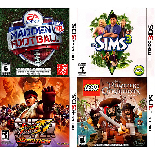 Madden NFL/The Sims 3/LEGO Pirates of the Carribean/Super Street Fighter IV 3DS 4-Pack (Nintendo 3DS)