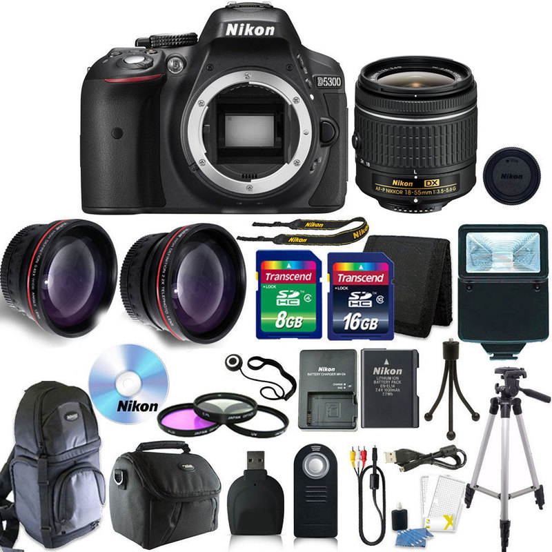 Nikon D5300 Digital SLR Camera with 18-55mm + 24GB + Top Accessory Bundle