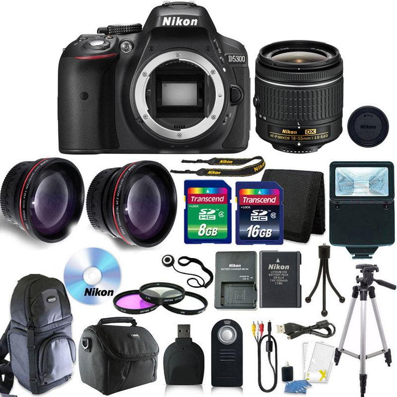 Nikon D5300 Digital SLR Camera with 18-55mm + 24GB + Top Accessory Bundle