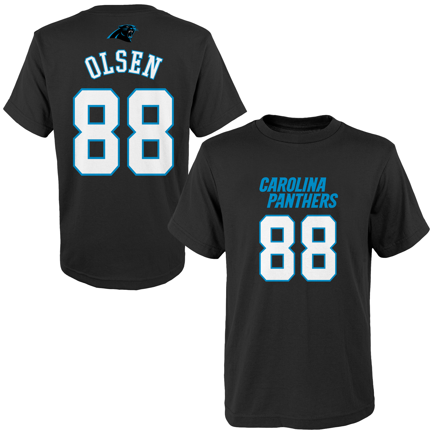 Greg Olsen Carolina Panthers Youth Mainliner Name & Number T-Shirt - Black