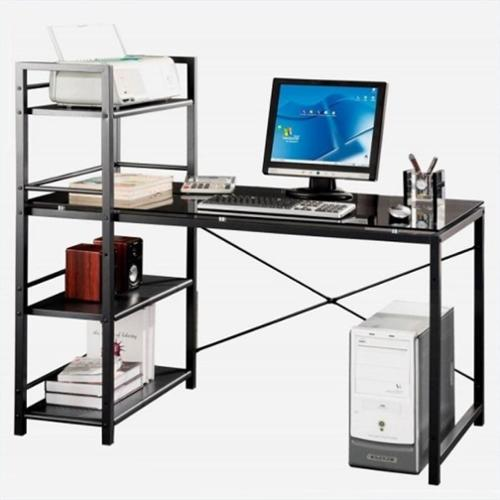 Techni Mobili Tempered Glass Laptop Desk in Black and Smokey Grey