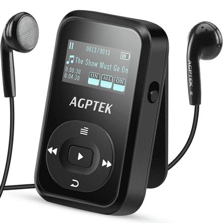 8bc43efe4d1 Agptek a26 8gb bluetooth mp3 player,fm radio music player with sports clip  hi-fi sound(up to 64gb),black - Walmart.com