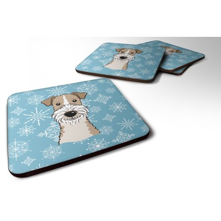 Set of 4 Snowflake Wire Haired Fox Terrier Foam Coasters BB1681FC