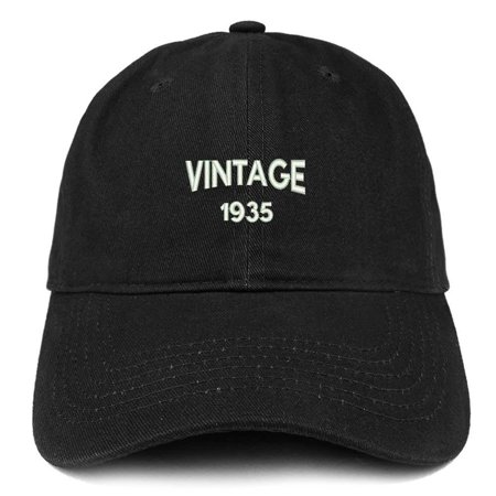 Trendy Apparel Shop Small Vintage 1935 Embroidered 83rd Birthday Adjustable Cotton Cap - Black