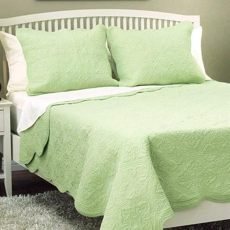Cozy Line Serenity Matelasse Green 100% Cotton Quilt Set, Full/Queen Set