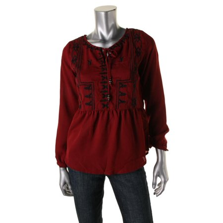 Womens Petites Embroidered Long Sleeves Peasant