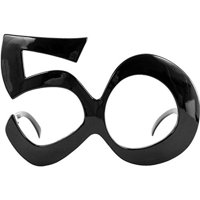 "Happy Birthday ""50"" Black Adult Costume Glasses"