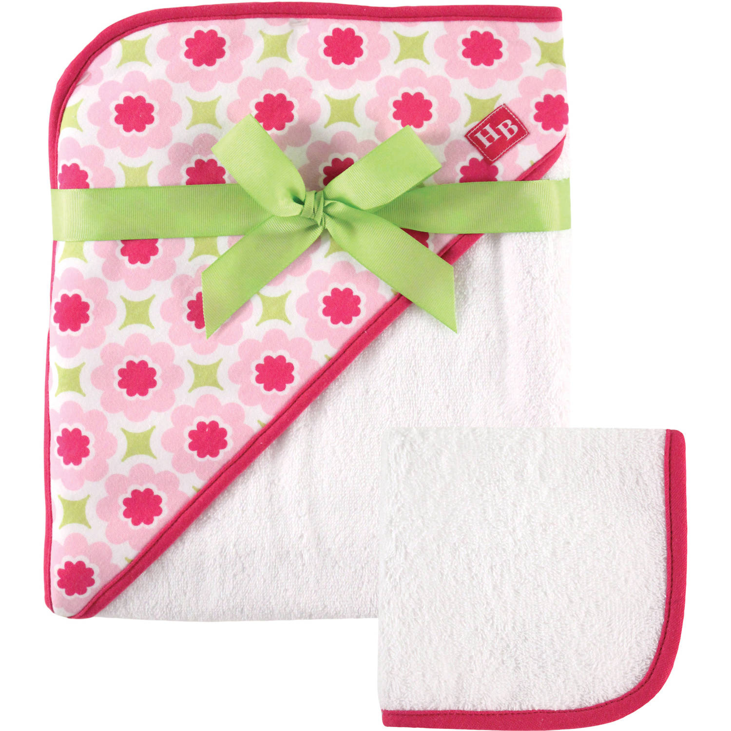 Hudson Baby Print Woven Hooded Towel and Washcloth Girl, Multiple Colors