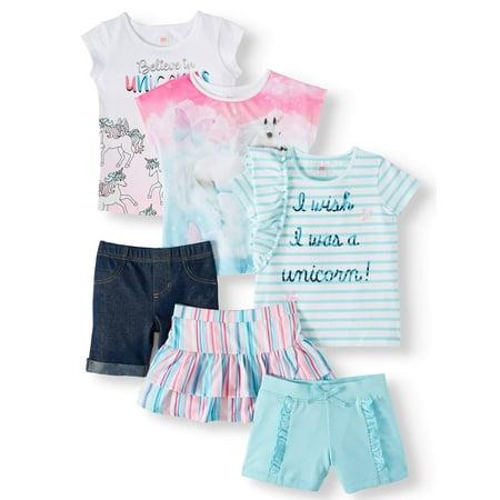 Outfits For Kids (365 Kids From Garanimals Mix & Match Short Sleeve, Short and Skirt 6-Piece Outfit Set (Little Girls & Big)