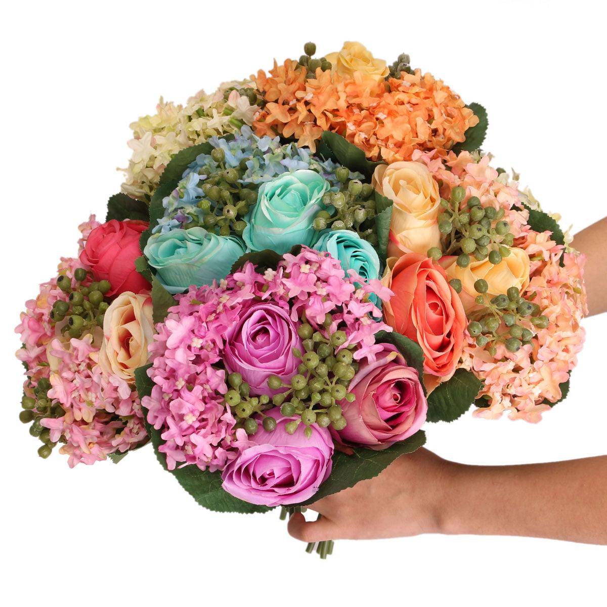 1 Bouquet Artificial decoration Rose Silk Hydrangea Flowers Bridal Home Party Wedding Decor