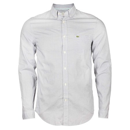 4f369737 Lacoste Regular Fit Finely Checked Poplin Shirt in Denim/White Officer