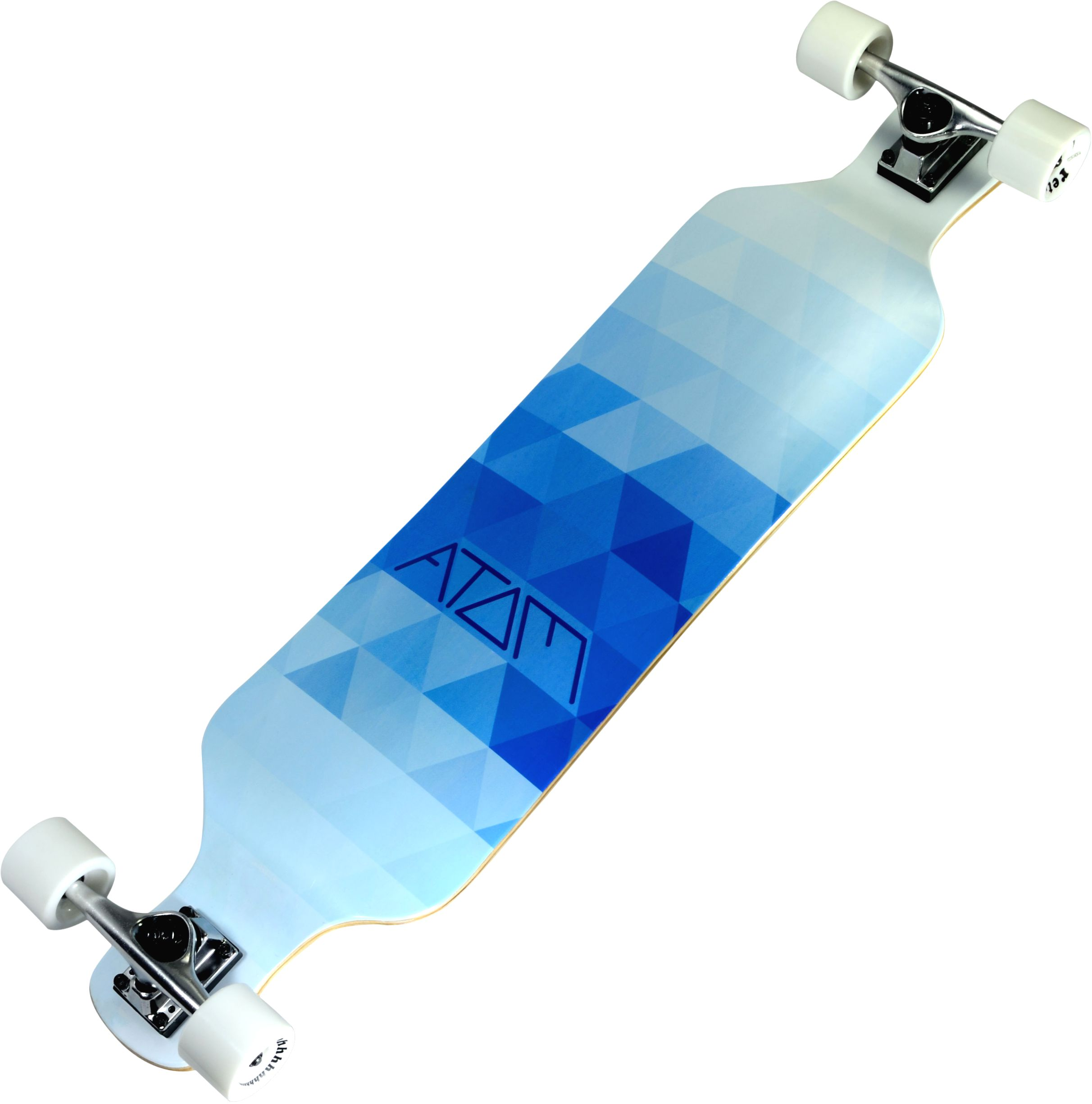 "Click here to buy Atom 39"" Drop Deck Longboard Blue Triangles by Atom Longboards."
