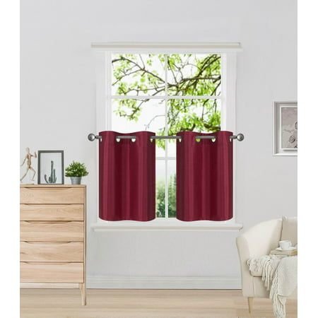 N29 Burgundy 2-Piece SemiSheer Plain Tier Curtains for Small Windows, Eyelet Top Lined Window Treatment Panels 60
