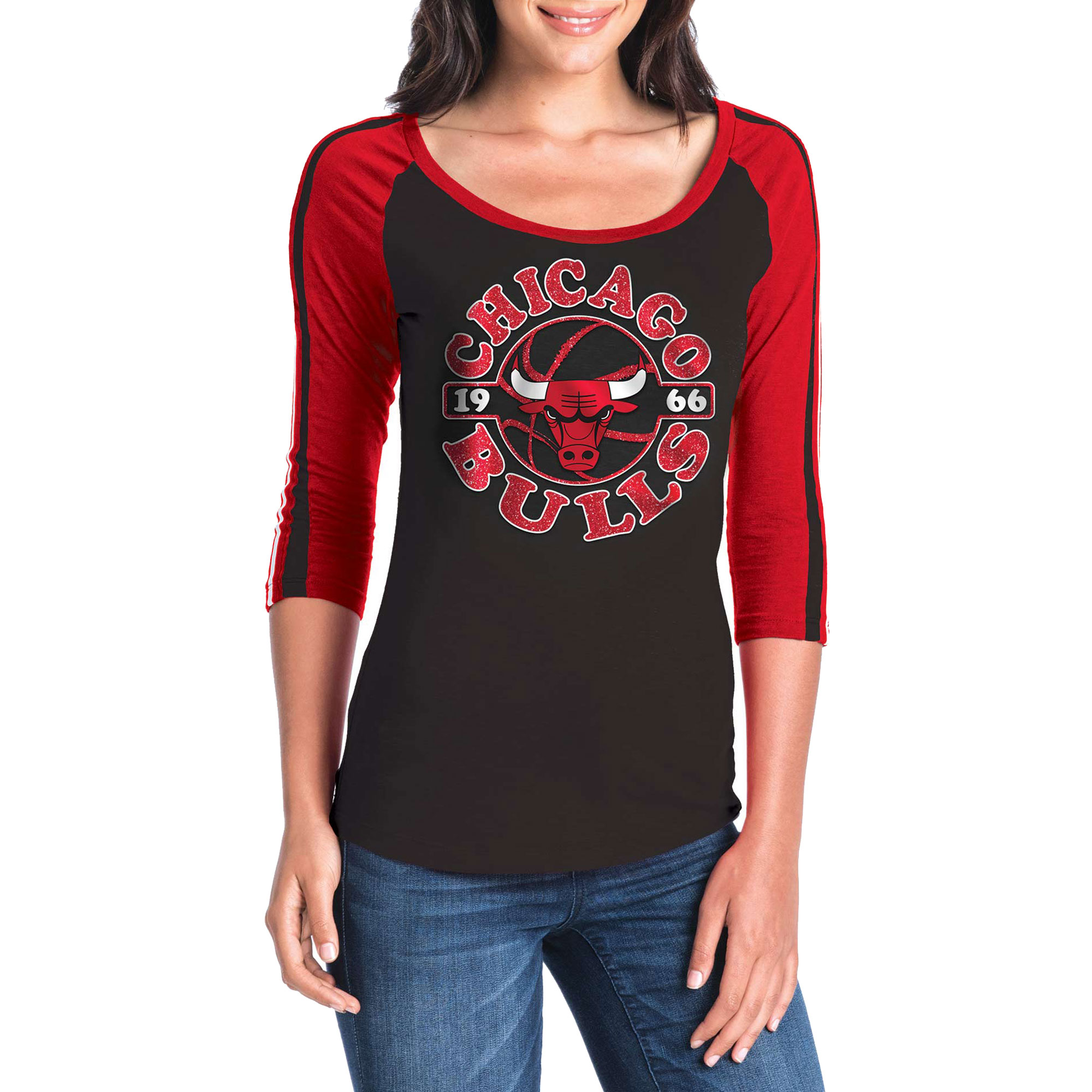 Women's New Era Black/Red Chicago Bulls Slub Jersey T-Shirt