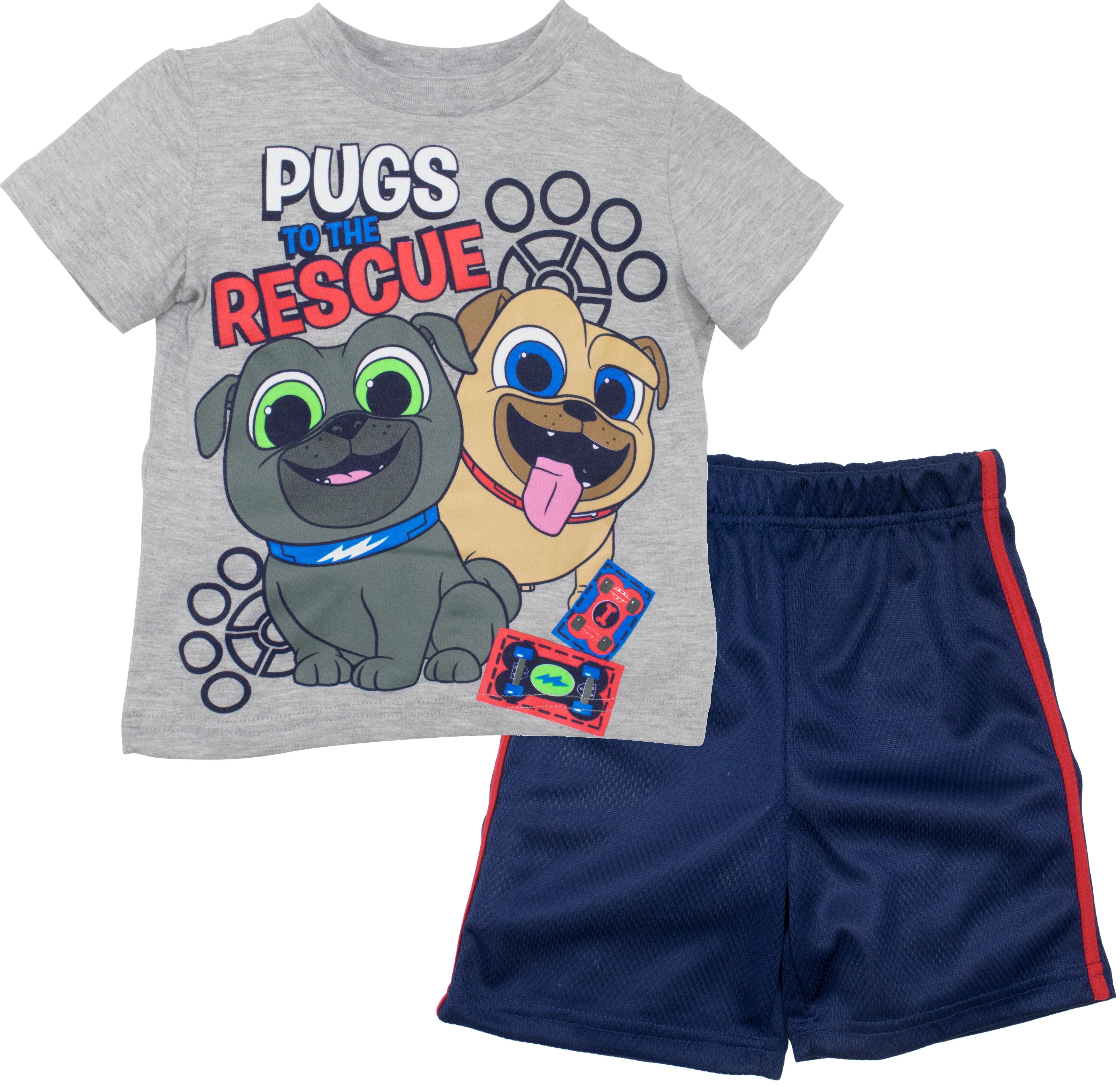 Disney Puppy Dog Pals Rolly Bingo Toddler Boys Tshirt /& Mesh Shorts Clothing Set