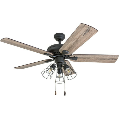 Prominence Home 50745-35 Lincoln Woods Farmhouse 52-Inch Aged Bronze Indoor Ceiling Fan, Cage LED Cage Barnwood/Tumbleweed Blades and 3 speed